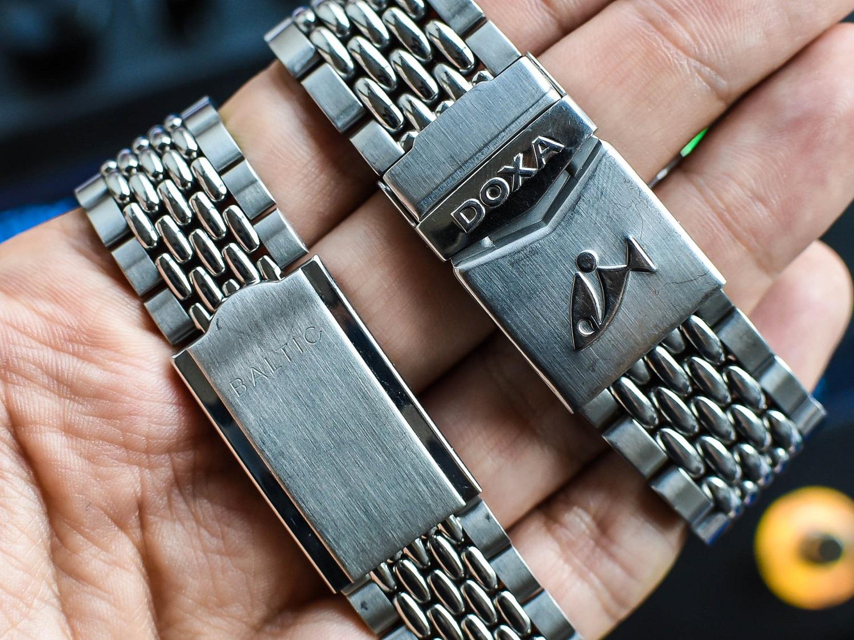 Baltic Aquascaphe and Doxa Sub 300 bracelet details